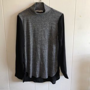 high neck mixed media sweater